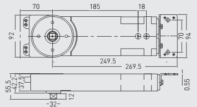 G-GRL054 045 GROOM Transom Closer Hold-open Std spindle EN4